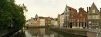 """Buildings along a canal, Bruges, West Flanders, Belgium by Panoramic Images - 27"""" x 9"""", FulcrumGallery.com brand"""