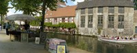 """Flea market at a canal, Dijver Canal, Bruges, West Flanders, Belgium by Panoramic Images - 27"""" x 9"""", FulcrumGallery.com brand"""