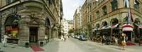 "Buildings in a city, Biblioteksgatan and Master Samuelsgatan streets, Stockholm, Sweden by Panoramic Images - 27"" x 9"""