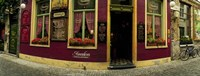 """Facade of a restaurant, Patershol, Ghent, East Flanders, Flemish Region, Belgium by Panoramic Images - 27"""" x 9"""""""