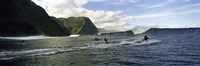 """Surfers in the sea, Hawaii, USA by Panoramic Images - 27"""" x 9"""""""