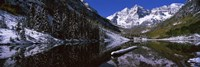 Reflection of a mountain in a lake, Maroon Bells, Aspen, Colorado Fine Art Print