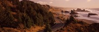 """Highway along a coast, Highway 101, Pacific Coastline, Oregon, USA by Panoramic Images - 27"""" x 9"""" - $28.99"""