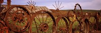 """Ffence made of wheels, Palouse, Whitman County, Washington State by Panoramic Images - 27"""" x 9"""""""