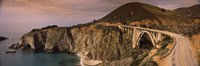 Bridge on a hill, Bixby Bridge, Big Sur, California, USA Fine Art Print
