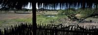 View from a hut, waterhole, Onguma Bush Camp, Etosha National Park, Kunene Region, Namibia Fine Art Print