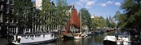 Boats in a Channel Amsterdam Netherlands