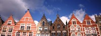 """Low angle view of colorful buildings, Main Square, Bruges, West Flanders, Flemish Region, Belgium by Panoramic Images - 27"""" x 9"""""""