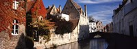 """Houses along a channel, Bruges, West Flanders, Flemish Region, Belgium by Panoramic Images - 27"""" x 9"""", FulcrumGallery.com brand"""