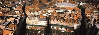 """Aerial view of a city, Bruges, West Flanders, Flemish Region, Belgium by Panoramic Images - 27"""" x 9"""", FulcrumGallery.com brand"""