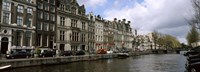 """Cars Parked along a Canal, Amsterdam, Netherlands by Panoramic Images - 27"""" x 9"""""""