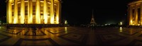 """Buildings lit up at night with a tower in the background, Eiffel Tower, Paris, France by Panoramic Images - 27"""" x 9"""""""