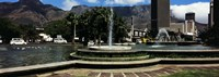 Fountain with Table Mountain in the background, Cape Town, Western Cape Province, South Africa Fine Art Print