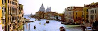 """Boats in a canal with a church in the background, Santa Maria della Salute, Grand Canal, Venice, Veneto, Italy by Panoramic Images - 27"""" x 9"""""""