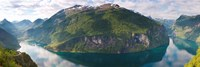 Reflection of mountains in fjord, Geirangerfjord, Sunnmore, Norway Fine Art Print