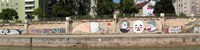 Graffiti on a wall at the riverside, Wien River, Vienna, Austria Fine Art Print