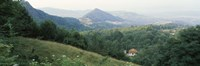 """Buildings in a valley, Transylvania, Romania by Panoramic Images - 27"""" x 9"""""""