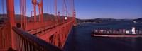 "Container ship passing under a suspension bridge, Golden Gate Bridge, San Francisco Bay, San Francisco, California, USA by Panoramic Images - 27"" x 9"""