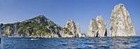 Rock formations in the sea, Faraglioni, Capri, Naples, Campania, Italy Fine Art Print