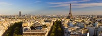 """Cityscape with Eiffel Tower in background, Paris, Ile-de-France, France by Panoramic Images - 27"""" x 9"""""""