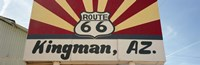 Low angle view of a road sign, Route 66, Kingman, Mohave County, Arizona, USA Fine Art Print
