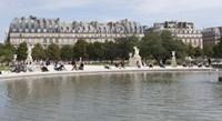 "Tourists in a garden, Jardin de Tuileries, Musee Du Louvre, Rue de Rivoli, Paris, Ile-de-France, France by Panoramic Images - 27"" x 9"", FulcrumGallery.com brand"
