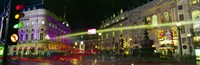 "Buildings lit up at night, Piccadilly Circus, London, England by Panoramic Images - 27"" x 9"""