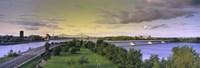 "Bridges across a river, Jacques Cartier Bridge, Pont De La Concorde, Montreal, Quebec, Canada by Panoramic Images - 27"" x 9"", FulcrumGallery.com brand"
