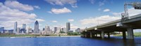 """Bridge across a canal, Lachine Canal, Autoroute Bonaventure, Montreal, Quebec, Canada 2009 by Panoramic Images, 2009 - 27"""" x 9"""""""