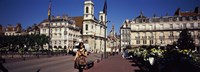 """Buildings along a street, Besancon, Franche-Comte, France by Panoramic Images - 27"""" x 9"""""""