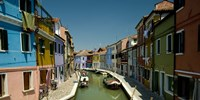 "Boats in a canal, Grand Canal, Burano, Venice, Italy by Panoramic Images - 27"" x 9"""