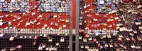 """Locks of Love on a fence against a Red Background, Hohenzollern Bridge, Cologne, North Rhine Westphalia, Germany by Panoramic Images - 27"""" x 9"""""""