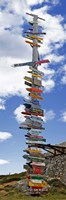 """Sign post showing distances to various countries, Stanley, Falkland Islands by Panoramic Images - 9"""" x 27"""", FulcrumGallery.com brand"""