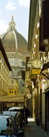 "Cars parked in a street with a cathedral in the background, Via Dei Servi, Duomo Santa Maria Del Fiore, Florence, Tuscany, Italy by Panoramic Images - 9"" x 27"""
