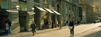 """Cyclists and pedestrians on a street, City Center, Florence, Tuscany, Italy by Panoramic Images - 27"""" x 9"""""""