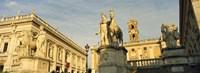 Low angle view of a statues in front of a building, Piazza Del Campidoglio, Palazzo Senatorio, Rome, Italy Fine Art Print