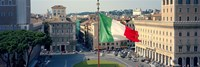 "Italian flag fluttering with city in the background, Piazza Venezia, Vittorio Emmanuel II Monument, Rome, Italy by Panoramic Images - 27"" x 9"", FulcrumGallery.com brand"