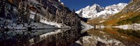 """Reflection of snowy mountains in the lake, Maroon Bells, Elk Mountains, Colorado, USA by Panoramic Images - 27"""" x 9"""""""