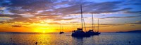 """Silhouette of sailboats in the ocean at sunset, Tahiti, Society Islands, French Polynesia by Panoramic Images - 27"""" x 9"""""""