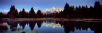 Reflection of mountains with trees in the river, Teton Range, Snake River, Grand Teton National Park, Wyoming, USA Fine Art Print