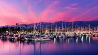 """Boats moored in harbor at sunset, Santa Barbara Harbor, Santa Barbara County, California, USA by Panoramic Images - 27"""" x 14"""", FulcrumGallery.com brand"""