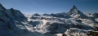 "Skiers on mountains in winter, Matterhorn, Switzerland by Panoramic Images - 27"" x 9"""