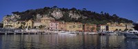 Boats docked at a port, English Promenade, Nice, Alpes-Maritimes, Provence-Alpes-Cote d'Azur, France Fine Art Print