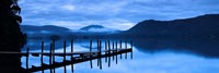 """Reflection of jetty in a lake, Derwent Water, Keswick, English Lake District, Cumbria, England by Panoramic Images - 27"""" x 9"""""""