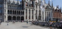 "Tourists at a market, Bruges, West Flanders, Belgium by Panoramic Images - 27"" x 9"""