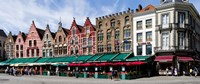 """Market at a town square, Bruges, West Flanders, Belgium by Panoramic Images - 27"""" x 9"""""""