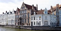 """Houses along a canal, Bruges, West Flanders, Belgium by Panoramic Images - 27"""" x 9"""", FulcrumGallery.com brand"""