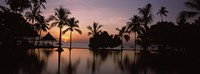 Sunset over hotel pool, Lombok, West Nusa Tenggara, Indonesia Fine Art Print