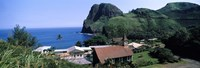 "Village at a coast, Kahakuloa, Highway 340, West Maui, Hawaii, USA by Panoramic Images - 27"" x 9"""