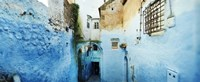 """Narrow streets of the medina are all painted blue, Chefchaouen, Morocco by Panoramic Images - 27"""" x 9"""""""